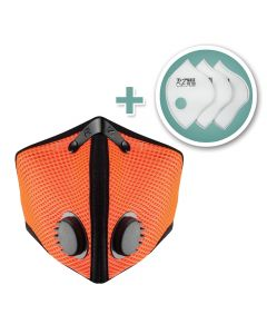 Small M2 Mesh Face Mask with Bonus 3-Pack HEPA Filters, Safety Orange