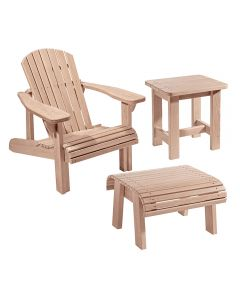Adirondack Chair Plans and Templates with Foot Stool/Side Table Plans and Stainless Steel Hardware Packs