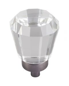 Brushed Pewter Harlow Glass Cabinet Knob 1'' D