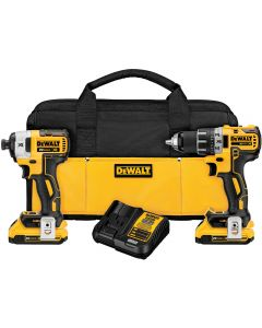 DeWalt 20V MAX XR Li-Ion Brushless Compact Drill/Driver and Impact Driver Combo, 2.0Ah