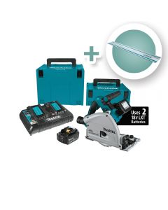 Makita 18V X2 Brushless Cordless 6-1/2'' Plunge-Cut Circular Saw Kit with 55'' Guide Rail