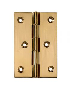 """Polished Brass Fixed Pin Hinges 2-1/2"""" Long x 2"""" Wide"""