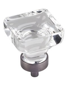 Brushed Pewter Harlow Glass Cabinet Knob 1-3/8'' D