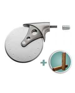 Rockler Stainless Steel/Pewter Pizza Cutter Turning Kit with Shedua Turning Blank