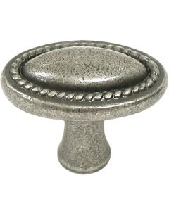 Pewter Antique Oval Rope Knob