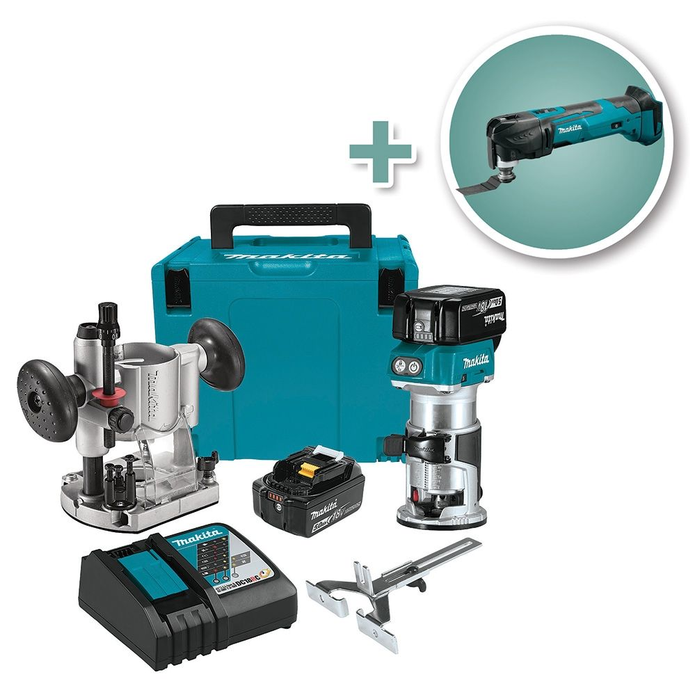 makita 18v cordless lithium-ion compact router kit with oscillating