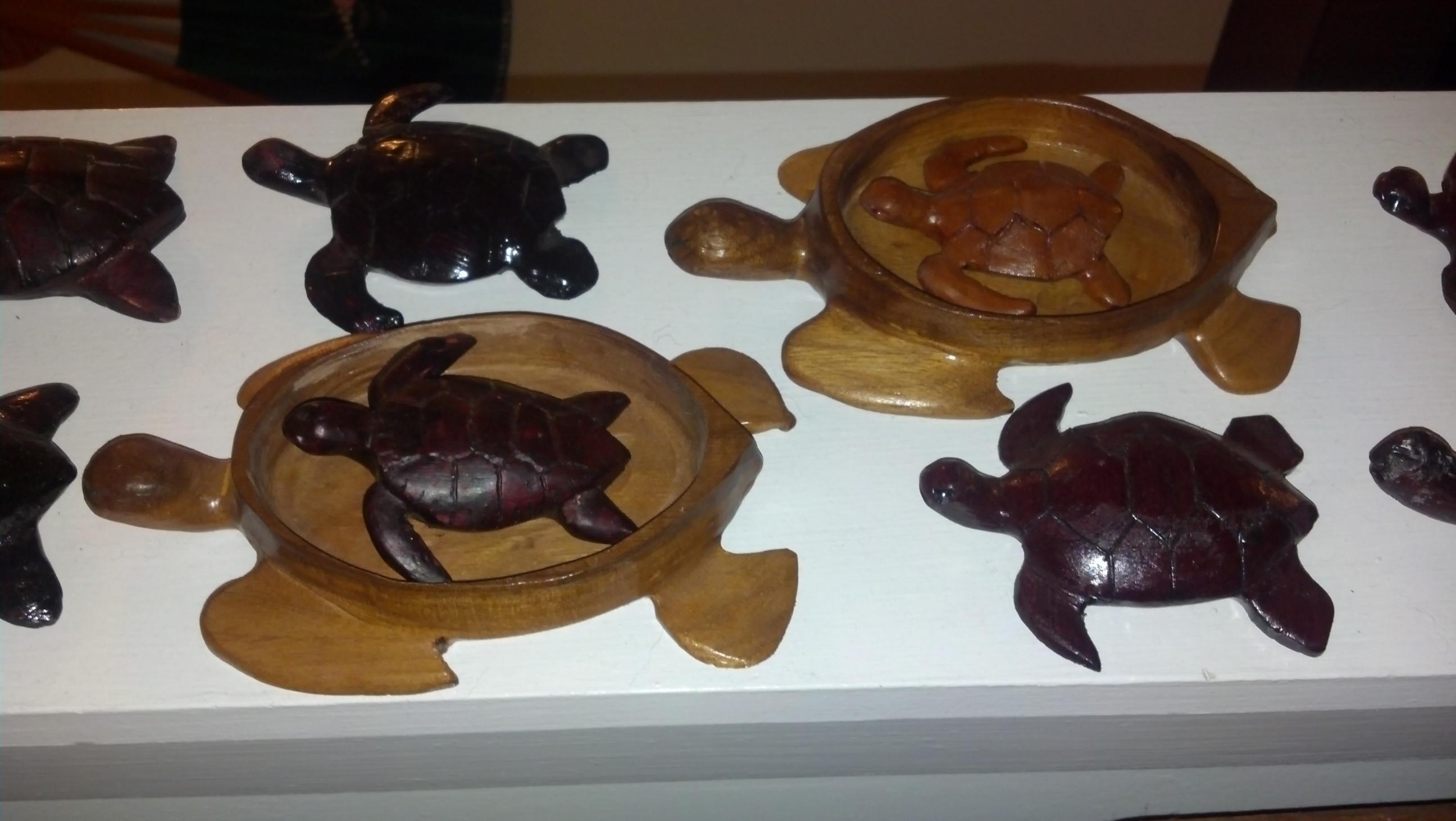 Wooden turtles.