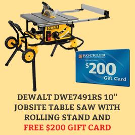 Free Gift Card with Dewalt Table Saw