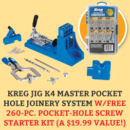Kreg Jig K4 Master Pocket Hole Joinery System w/FREE 260-Piece Pocket-Hole Screw Starter Kit