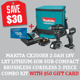 Save on the 18V LXT 2 Pc. Combo Kit and get a FREE $50 Gift Card