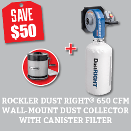 Save $50 on the Rockler Dust Right 650 CFM Wall-Mount  Dust Collector with Canister Filter