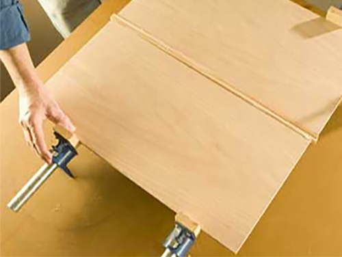 Clamping edge banding to plywood during glue-up