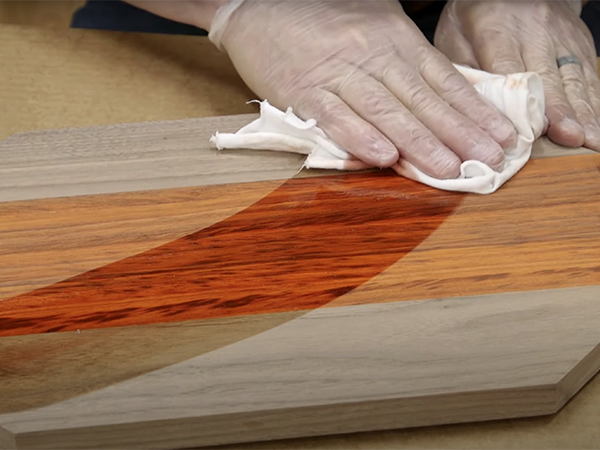 wiping finish on serving tray