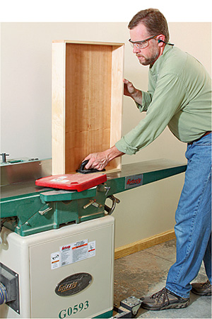 shaving sides of drawers on a jointer