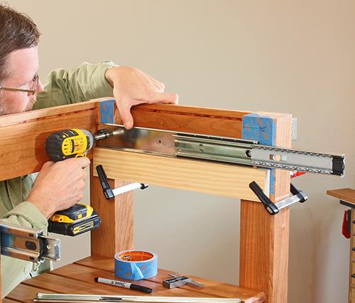 clamping drawer slides in position
