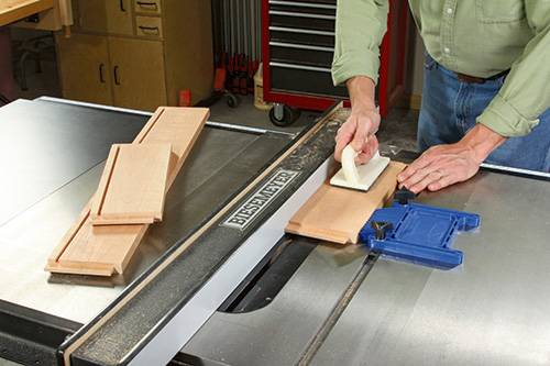 cutting island aprons on table saw
