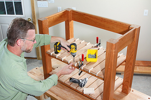 attaching shelf slats