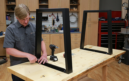 attaching the metal table legs