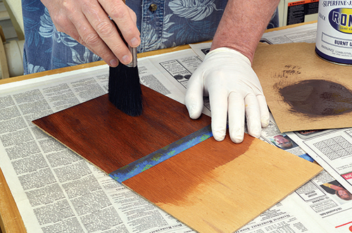 Lightly brushing japan color and paint thinner to wood