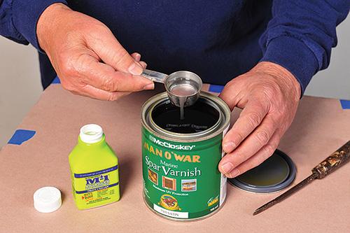 Adding a mildewcide to a spar varnish for outdoor furniture