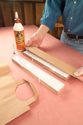 Laying paper in the center of a glue-up