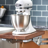 Kitchen cabinet attachment for raising and lowering small appliances