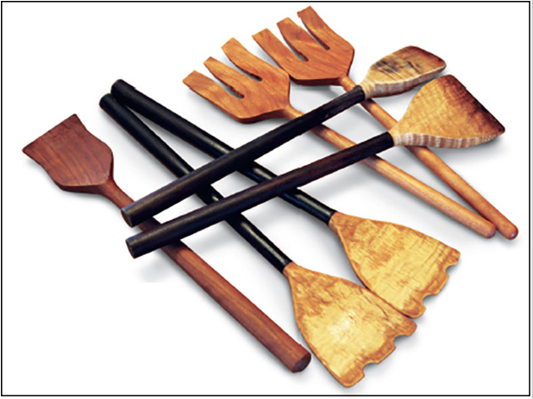Salad forks and spatulas turned from ash wood