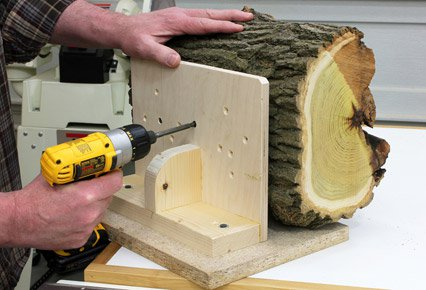 Securing log bowl blank to a right angle jig