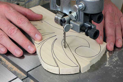 Making relief cuts with a band saw along pattern lines