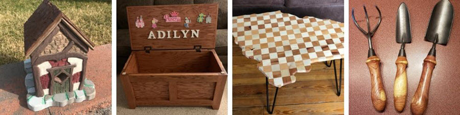 handmade woodcrafts including a birdhouse, toybox, checkered coffee table and garden tools