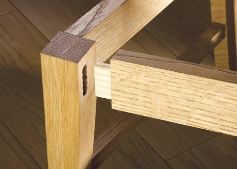 chair leg constructed with Beadlock floating tenon