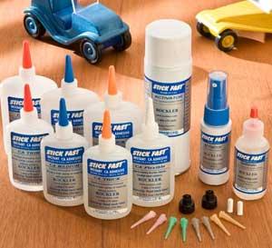 Bottles of Stick Fast cyanoacrylate glue and accelerant