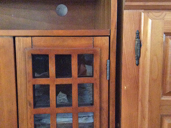 Pine cabinet and entertainment center with different stains