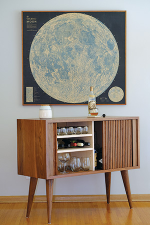 Cabinet with tambour doors made from walnut wood