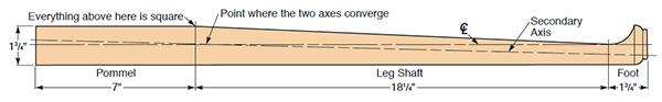 Diagram of of cabriole leg billet for woodturning