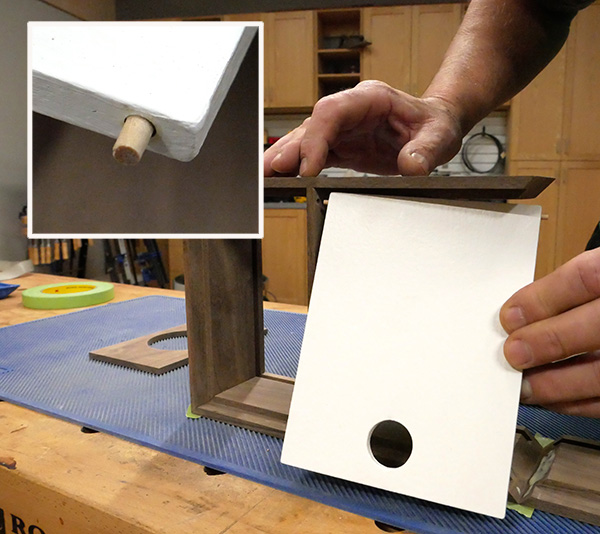 inserting hinge pins in the lid