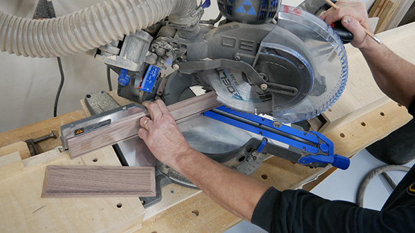 using miter saw to cut wood pieces to length