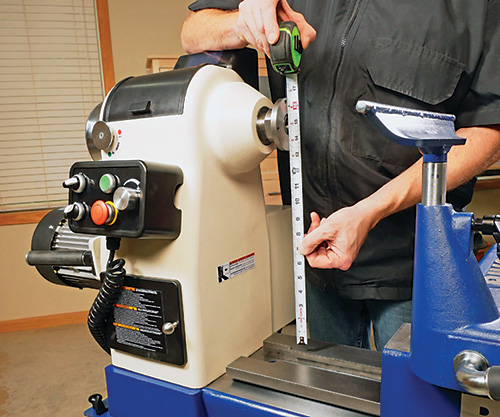 Measuring the depth of an extended lathe bed