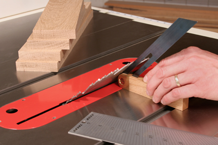 Checking angle of joinery cut with miter gauge