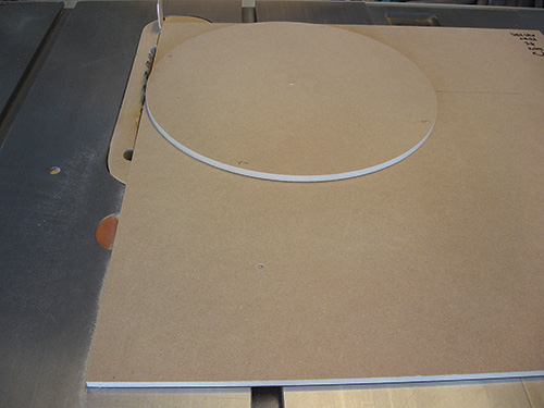 A completely round panel cut using a table saw jig
