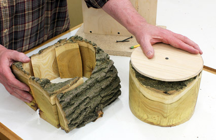 View of the bowl blank cut from a natural edge log
