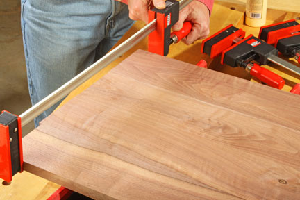 Using bar clamps to aid in panel glue-up