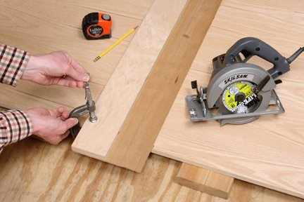 Clamping a circular saw jig to a plywood panel