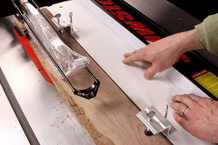 Using general tools clamps to attach a board to a table saw