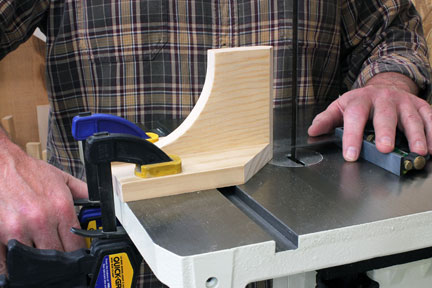 Book-matched panel cutting guide clamped to band saw table