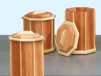 Octagonal cherry and walnut canister set