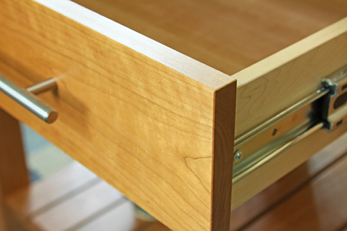 Close up of drawer with slides
