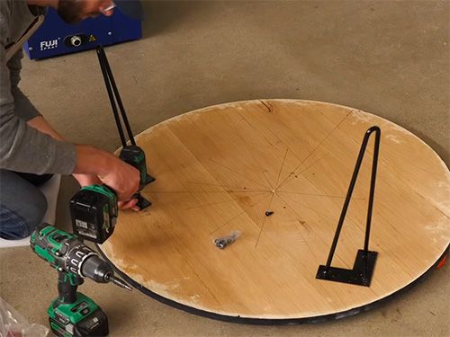 Building a coffee table with hair pin style legs