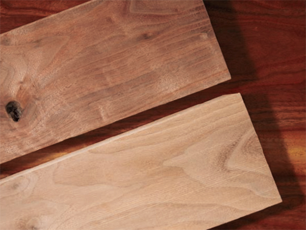 Differently colored walnut lumber