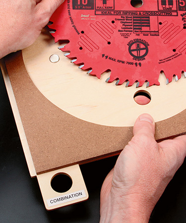 Label on tray for sorting table saw blades